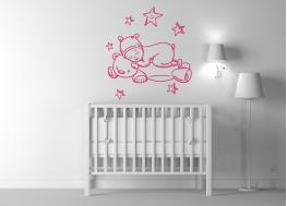 παιδάκι, κοιμάται, αρκουδάκι, παιδικό δωμάτιο, βινύλιο, αυτοκόλλητο