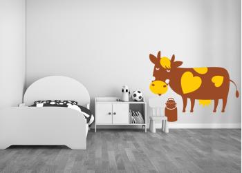 αγελάδα με καρδάρα, cow with milk can
