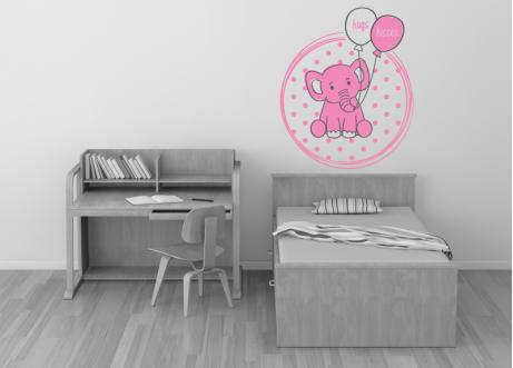 Ελεφαντάκι με μπαλόνια και κείμενο